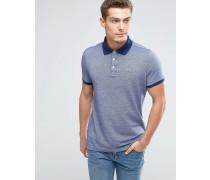 Schmales, marineblaues Pikee-Polohemd mit Kontrastkragen und Oxford-Seemöwen-Logo Marineblau