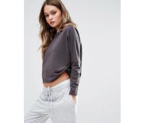 Kurz geschnittenes Sweatshirt mit tief angesetzter Schulter Grau