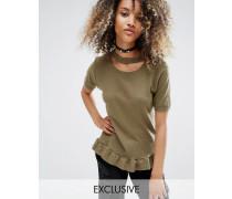Vintage Oversize-T-Shirt im Distressed-Look mit gerüschtem Schößchensaum Grün