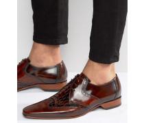 Escobar Derby-Schuhe im Budapester-Stil in Kroko-Optik Braun