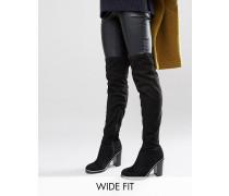New Look Overknee-Stiefel in weiter Passform mit Metallpaspelierung Schwarz