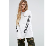 Cart Oversized Long Sleeve T-Shirt With Logo Arm Print Weiß