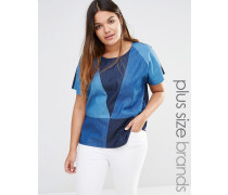 Gewebtes Jeans-Oberteil mit Aufnähern Blau