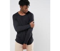 Langes, langärmliges T-Shirt mit großer Tasche Schwarz