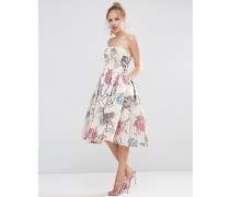 SALON Bandeau-Midiballkleid aus Jacquard mit Blumendesign Beige