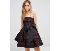 Christmas Kariertes Bandeau-Kleid mit Schleife Mehrfarbig