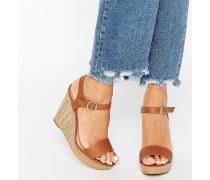 Riemchen-Sandalen mit Keilabsatz Bronze