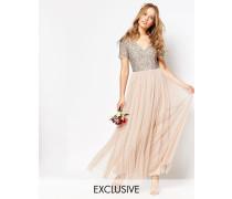 Maxi-Tüllkleid mit V-Ausschnitt und farblich passenden, feinen Pailletten Rosa