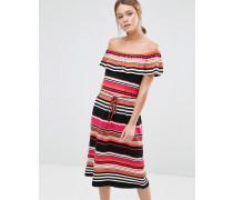Gestreiftes Bardot-Kleid Mehrfarbig