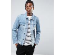 Jeansjacke in verwaschenem Mittelblau Blau