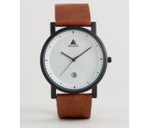 Schlicht Uhr mit Datumsanzeige und hellbraunem Armband Braun