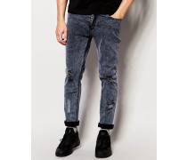 Perill Biker-Jeans mit Zierrissen Grau