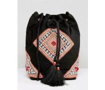 Perlenverzierte Tasche mit Quasten Schwarz