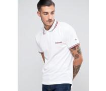 Pikee-Polohemd mit Zierstreifen und Target-Logo Weiß