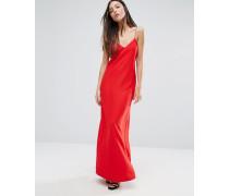 Kleid mit strassbesetzten Spaghettiträgern Rot