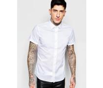 Kurzärmliges formelles Hemd mit schmalem Schnitt Weiß