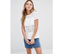 Hearden T-Shirt mit Spitzeneinsatz Weiß