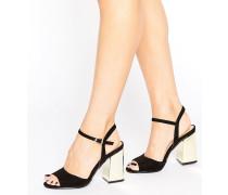 Sandalen mit Metallic-Absatz Schwarz