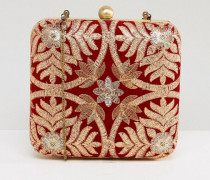 Bestickte kastenförmige Clutch-Bag Rot