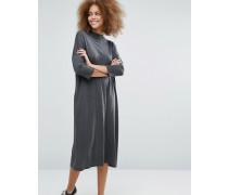 Kleid mit Stehkragen Grau