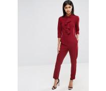 Overall mit Hemddesign und Rüschen Rot