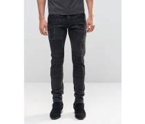 Schmale Jeans im Biker-Stil mit Rissen Schwarz