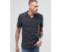 Nudie Brandon Kurzärmeliges Hemd mit Kreuzstich-Nähten in Indigoblau Blau