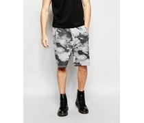 Grau melierte Sweat-Shorts mit Razor Clouds-Print Grau