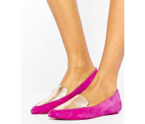 Spitze, flache Schuhe Rosa