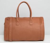 Reisetasche aus hellbraunem Kunstleder Bronze