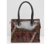 Leder-Handtasche in Schlangenhautoptik Braun
