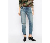 Alena Boyfriend-Jeans mit hohem Bund und Destroyed-Akzenten Schwarz