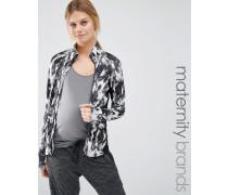 Mamalicious Bedruckte Lounge-Jacke mit Reißverschluss Mehrfarbig
