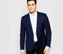 Eng geschnittene Stretch-Anzugjacke Blau