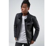 Jacke in Lammfelloptik mit asymmetrischem Reißverschluss Schwarz