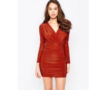 Langärmliges, anschmiegsames Kleid mit V-Ausschnitt Rot