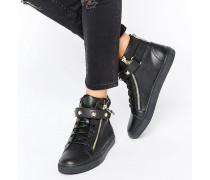 Schwarze, hohe Leder-Sneaker Schwarz