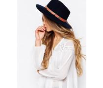 Fedora-Hut aus Wollfilz mit breiter Krempe Marineblau