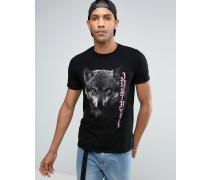 T-Shirt mit Wolf-Print Schwarz