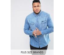 PLUS Westernhemd in heller Waschung Blau