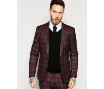 Schmale Anzugjacke mit rotem Schottenkaromuster Rot