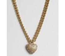 Champagne Halskette mit Herz in Ombre Gold