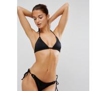Mix-and-Match Triangel-Bikinioberteil mit doppelten Trägern und Ösenverzierung Schwarz