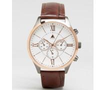 Roséfarbene Uhr in verschiedenen Metallen und braunem Krokoarmband Braun