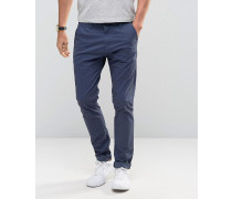 SOLID Enge Chinohose mit Stretch Marineblau