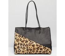 Shopper-Tasche mit Leder und Kunstfell Mehrfarbig