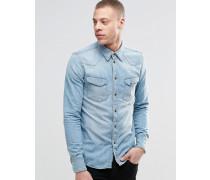 Nudie Jonis Bronson Western-Jeanshemd in verwaschenem Hellblau Blau