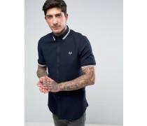 Dunkelblaues T-Shirt mit kurzem Arm und Doppelstreifen in Wafffelstruktur Marineblau