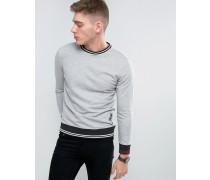 Brooklyn Supply Co Sweatshirt mit Rippen und Palmenstickerei Schwarz