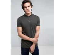 Einfarbiges Jersey-Poloshirt mit Kontrastleiste Grün